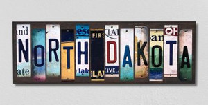 North Dakota Wholesale Novelty License Plate Strips Wood Sign