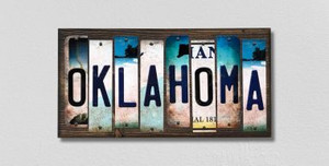 Oklahoma Wholesale Novelty License Plate Strips Wood Sign