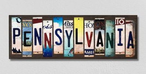 Pennsylvania Wholesale Novelty License Plate Strips Wood Sign