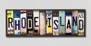 Rhode Island Wholesale Novelty License Plate Strips Wood Sign