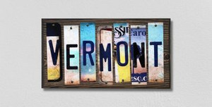 Vermont Wholesale Novelty License Plate Strips Wood Sign