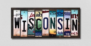 Wisconsin Wholesale Novelty License Plate Strips Wood Sign