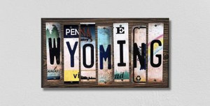 Wyoming Wholesale Novelty License Plate Strips Wood Sign