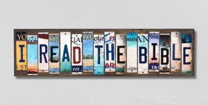 I Read the Bible Wholesale Novelty License Plate Strips Wood Sign