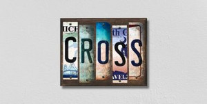 Cross Wholesale Novelty License Plate Strips Wood Sign WS-216