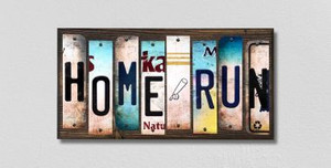 Home Run Wholesale Novelty License Plate Strips Wood Sign