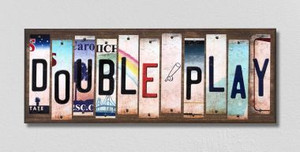 Double Play Wholesale Novelty License Plate Strips Wood Sign