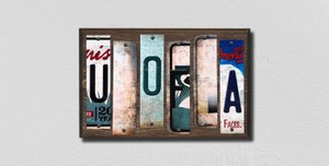 U of A Wholesale Novelty License Plate Strips Wood Sign