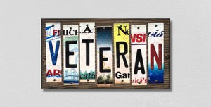 Veteran Wholesale Novelty License Plate Strips Wood Sign