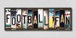 Football Fan Wholesale Novelty License Plate Strips Wood Sign