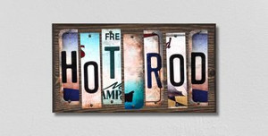 Hot Rod Wholesale Novelty License Plate Strips Wood Sign
