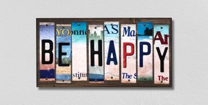 Be Happy Wholesale Novelty License Plate Strips Wood Sign