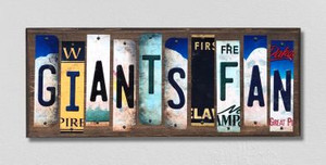 Giants Fan Wholesale Novelty License Plate Strips Wood Sign