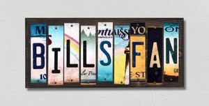 Bills Fan Wholesale Novelty License Plate Strips Wood Sign