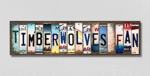 Timberwolves Fan Wholesale Novelty License Plate Strips Wood Sign WS-371