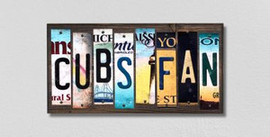 Cubs Fan Wholesale Novelty License Plate Strips Wood Sign