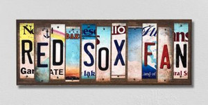 Red Sox Fan Wholesale Novelty License Plate Strips Wood Sign WS-392