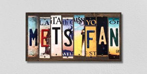 Mets Fan Wholesale Novelty License Plate Strips Wood Sign WS-393