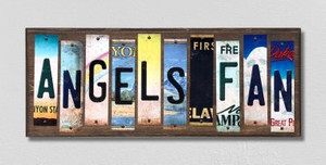 Angels Fan Wholesale Novelty License Plate Strips Wood Sign
