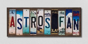 Astros Fan Wholesale Novelty License Plate Strips Wood Sign