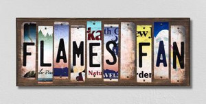 Flames Fan Wholesale Novelty License Plate Strips Wood Sign WS-428