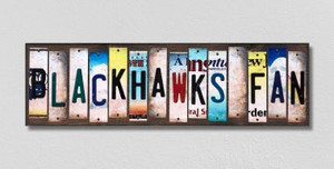 Blackhawks Fan Wholesale Novelty License Plate Strips Wood Sign WS-429