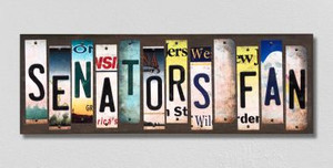 Senators Fan Wholesale Novelty License Plate Strips Wood Sign WS-439