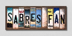 Sabres Fan Wholesale Novelty License Plate Strips Wood Sign WS-440