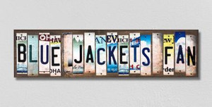 Blue Jackets Fan Wholesale Novelty License Plate Strips Wood Sign WS-441