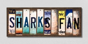 Sharks Fan Wholesale Novelty License Plate Strips Wood Sign WS-442