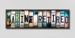 Marine Retired Wholesale Novelty License Plate Strips Wood Sign