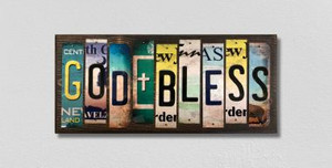 God Bless Wholesale Novelty License Plate Strips Wood Sign