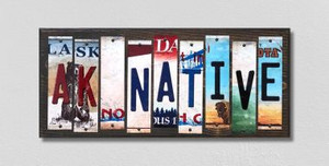 AK Native Wholesale Novelty License Plate Strips Wood Sign