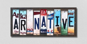 AR Native Wholesale Novelty License Plate Strips Wood Sign