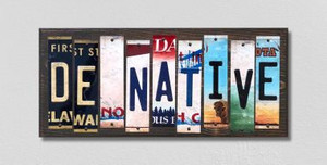 DE Native Wholesale Novelty License Plate Strips Wood Sign