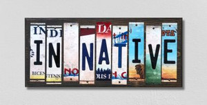 IN Native Wholesale Novelty License Plate Strips Wood Sign