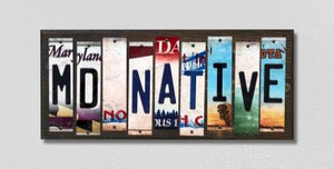 MD Native Wholesale Novelty License Plate Strips Wood Sign