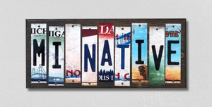 MI Native Wholesale Novelty License Plate Strips Wood Sign