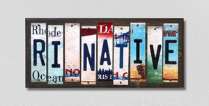 RI Native Wholesale Novelty License Plate Strips Wood Sign