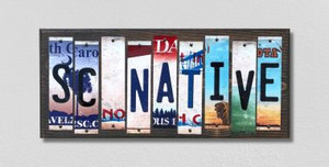 SC Native Wholesale Novelty License Plate Strips Wood Sign