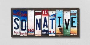 SD Native Wholesale Novelty License Plate Strips Wood Sign