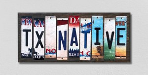 TX Native Wholesale Novelty License Plate Strips Wood Sign