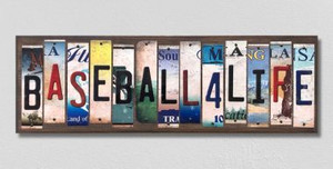 Baseball For Life Wholesale Novelty License Plate Strips Wood Sign