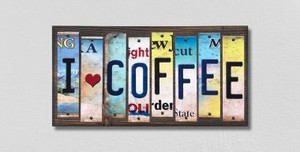 I Love Coffee Wholesale Novelty License Plate Strips Wood Sign WS-575