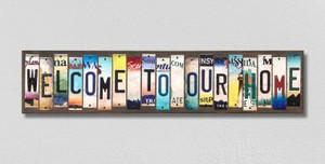 Welcome To Our Home Wholesale Novelty License Plate Strips Wood Sign