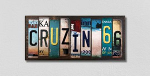 Cruzin 66 Wholesale Novelty License Plate Strips Wood Sign