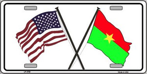United States Burkina Faso Crossed Flags Wholesale Metal Novelty License Plate Sign LP-4763