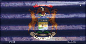 Michigan Corrugated Flag Wholesale Novelty Bicycle Plate BP-11963