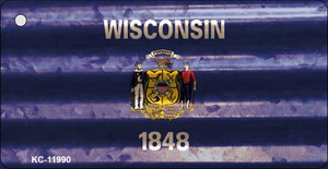 Wisconsin Corrugated Flag Wholesale Novelty Key Chain KC-11990