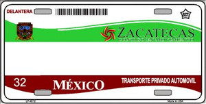 Zachatecas Mexico Novelty Background Wholesale Metal License Plate LP-4812
